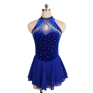 Jeweled Loop Velvet Skating Dress - Joyce + Co. Competition Figure Skating Dresses