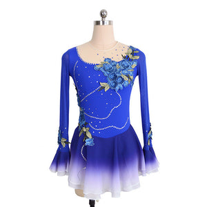 Sapphire Bell Sleeve Skating Dress with Floral Appliqué - Joyce + Co.