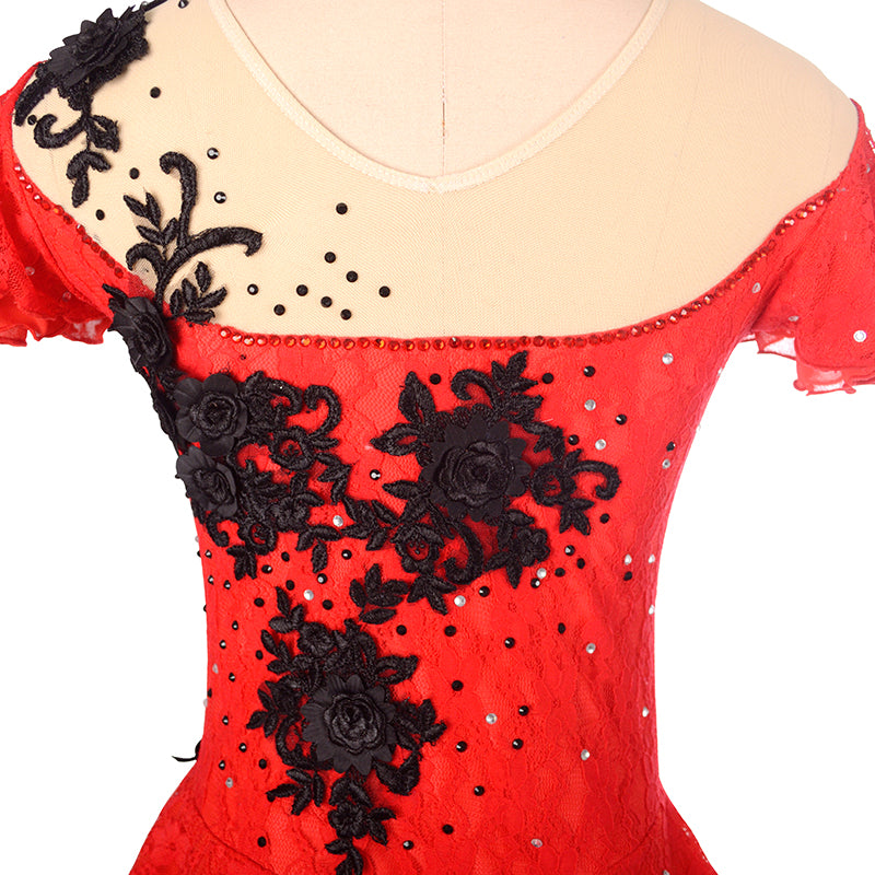 Carmen Lace Figure Skating Dress - Joyce + Co. Competition Figure Skating Dresses