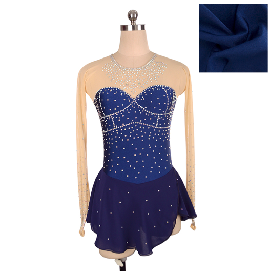 Joyce + Co. In-stock Figure Skating Dresses | Royal Diamond Ice Skating Dress | Navy Blue | Adult L | Designer Ladies Figure Skating Dresses
