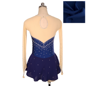Joyce + Co. In-stock Figure Skating Dresses | Royal Diamond Ice Skating Dress | Navy Blue | Adult L | Ladies Competition Figure Skating Dresses