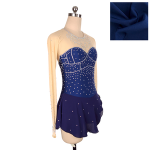 Joyce + Co. In-stock Figure Skating Dresses | Royal Diamond Ice Skating Dress | Navy Blue | Adult L | Designer Womens Figure Skating Dresses