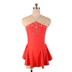 Joyce + Co. In-stock Competition Figure Skating Dresses | Triangle Cut Ice Skating Dress | Red | Child Size 14 | Kid's Figure Skating Dresses