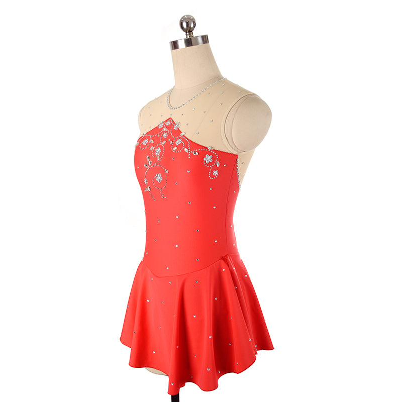 Joyce + Co. Competition Ice Skating Dresses | Ready to Ship | Triangle Cut Designer Figure Skating Dress | Red | Child Size 14 | Kids Figure Skating Dresses