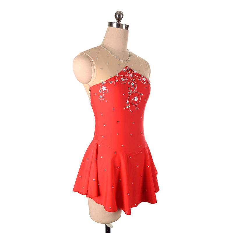 Joyce + Co. In-stock Competition Ice Skating Dresses | Triangle Cut Designer Ice Skating Dress | Red | Child Size 14 | Girl's Figure Skating Dresses