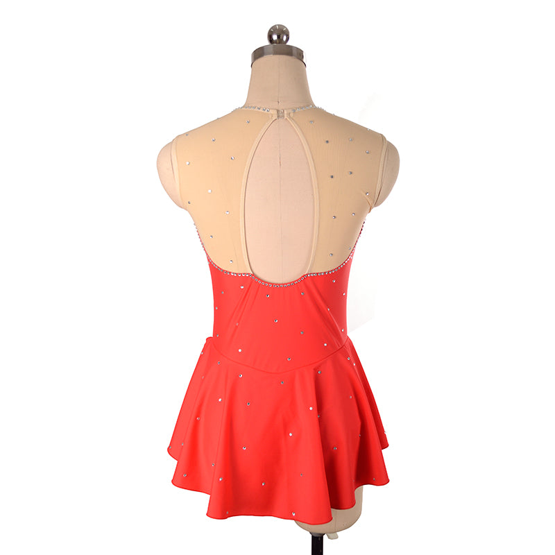 Joyce + Co. Ready to Ship Competition Figure Skating Dresses | Triangle Cut Designer Ice Skating Dress | Red | Child Size 14 | Girl's Figure Skating Dresses