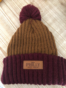 PHILLY Leather Patch Copper and Burgundy POM Knit Hat
