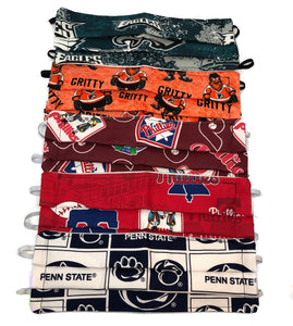 Philadelphia Sports 5 Pack Accordion (3 Layer) Cotton Face Masks