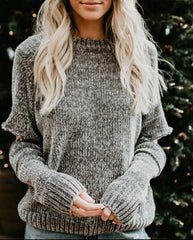 Chenille Cozy Cut Out Sweater