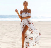 Off the Shoulder Boho Floral Maxi Dress