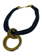 Black Leather and Brass Necklace