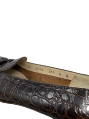 Salvatore Ferragamo Crocodile Embossed Leather Loafers Size 7.5