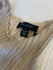 St. John Metallic Gold Pleated Knit Dress Size 2