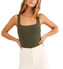 Free People Square Off Cami in Army