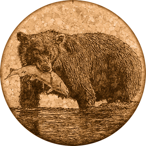 Coaster - Bear With Fish Spokane, Washington - Cork