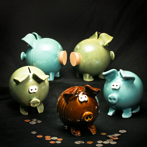 Clay Piggy Bank - Green