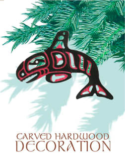 Ornament - Native Northwest Orca - Carved Wood