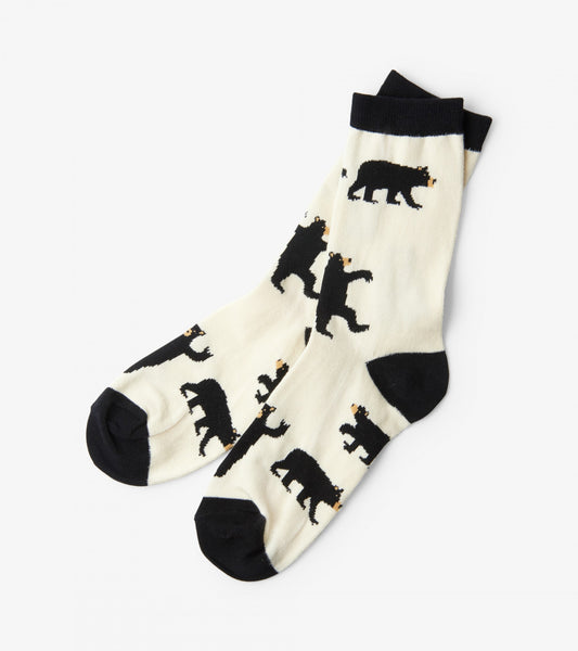 Ladies Crew Socks-Black Bears On Natural
