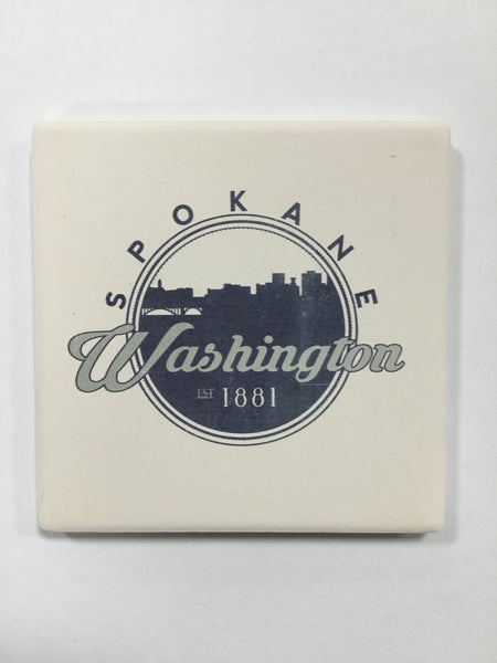 Ceramic Coaster - Spokane Washington Skyline Seal
