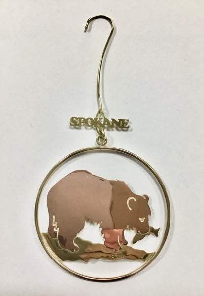 Ornament - Grizzly with Salmon - Brass