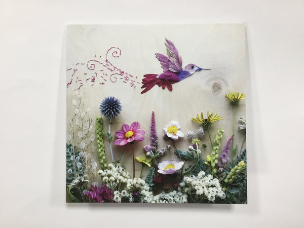 Card - Hummingbird and Flowers - (Blank Inside)