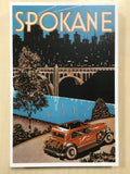 Postcard Vintage Advertisement with Car Spokane, Wa