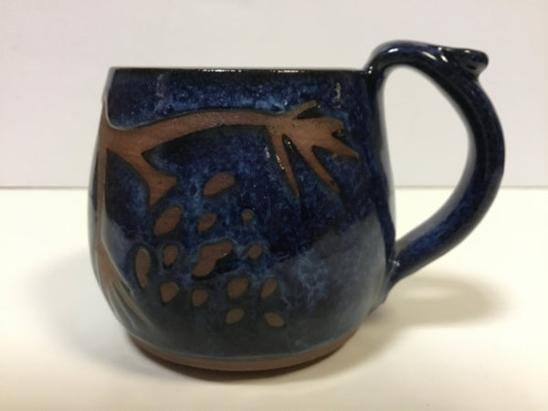 Mug - Pine Cone On Blue - 12 oz Clay
