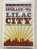 Postcard Skyline and Sunburst Screen Print Lilac City