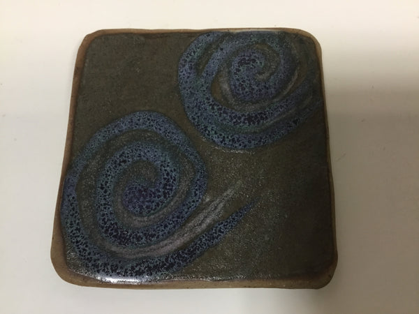 Coaster - Blue Swirls On Army Green - 4 x 4