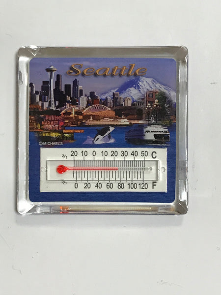 Seattle Photo Collage Thermometer Magnet