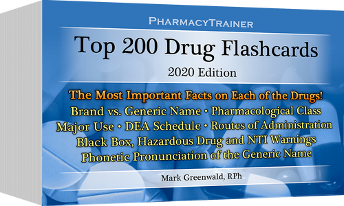 PharmacyTrainer Top 200 Drugs Flash Cards - 2020 Edition  **NEW**