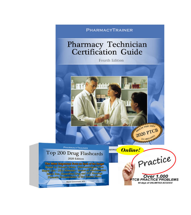 SAVE OVER $40 WITH THIS PACKAGE DEAL!  Certification Textbook PLUS Top 200 Drug Flashcards PLUS Online Practice Problems!