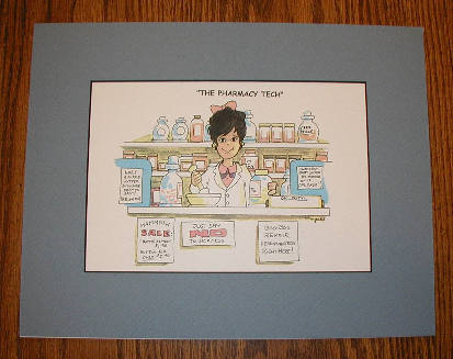 Female Pharmacist Cartoon Wall Hanging #1