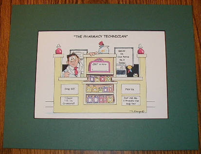 Male Pharmacy Technician Cartoon Wall Hanging #2 - Small