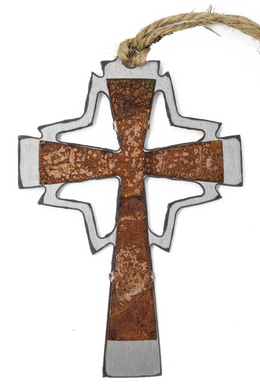 Rusted Mid-Century Cross Ornament