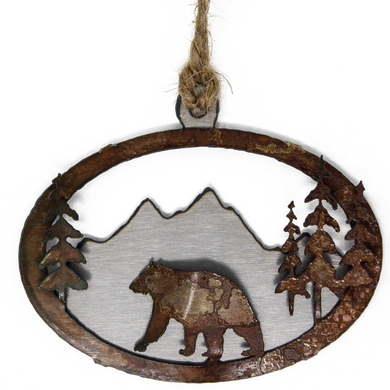 Rusted 3-D Bear in Mountains Ornament