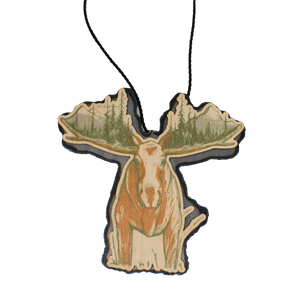Color Moose Rack with Mountain Scene