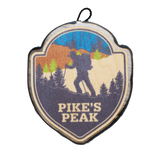 Color Hiker Silhouette on Trail w/ Trees Badge (namedrop)