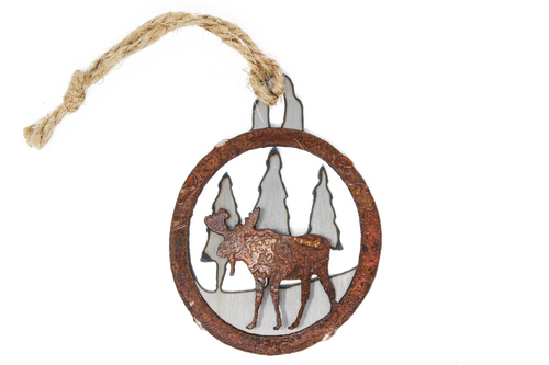 Rusted Moose in Pines Ornament
