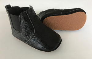 Black Leather boots for toddlers with rubber sole