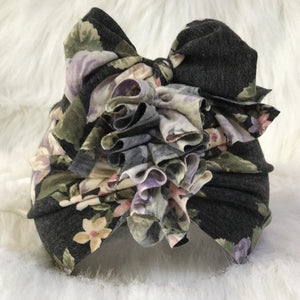 Charcoal Ruffle Bow Turban