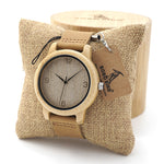 Beautiful Handcrafted Bamboo Watch with Leather Strap