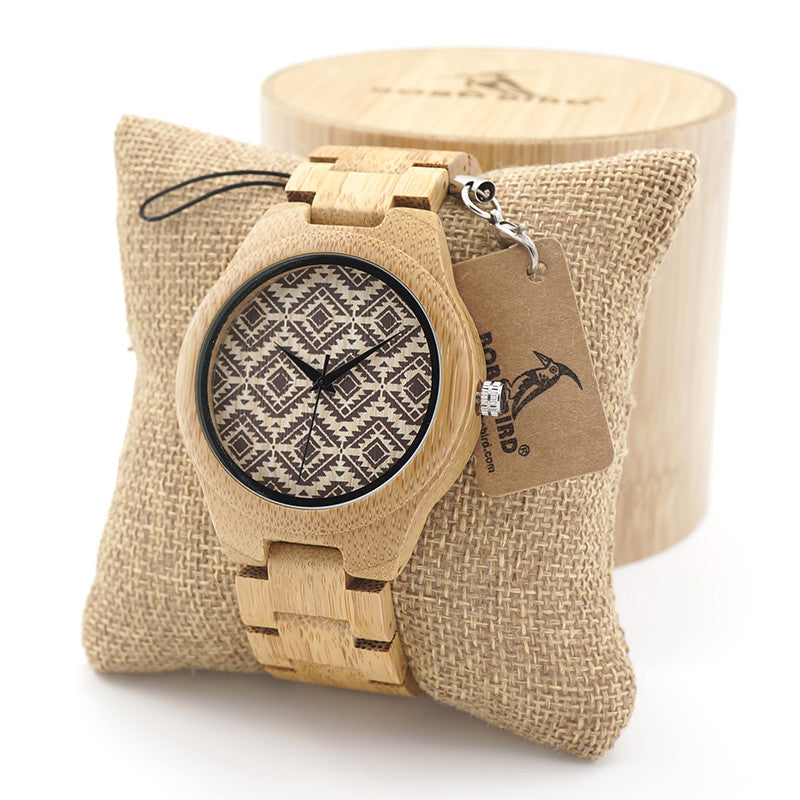 Naturally Hypoallergenic Vintage Wood Watch with Beautiful Tribal Pattern