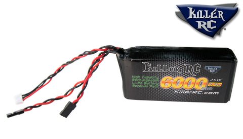 6000mAh 7.4v RX LiPo Battery - Killer RC