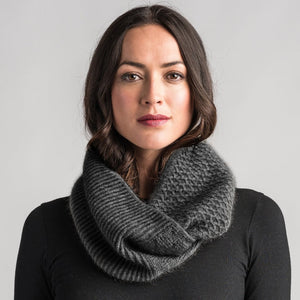 Textured Loop Scarf in Slate by Merinomink