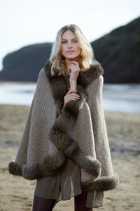 Possum fur trimmed cable cape by McDonald in Mocha
