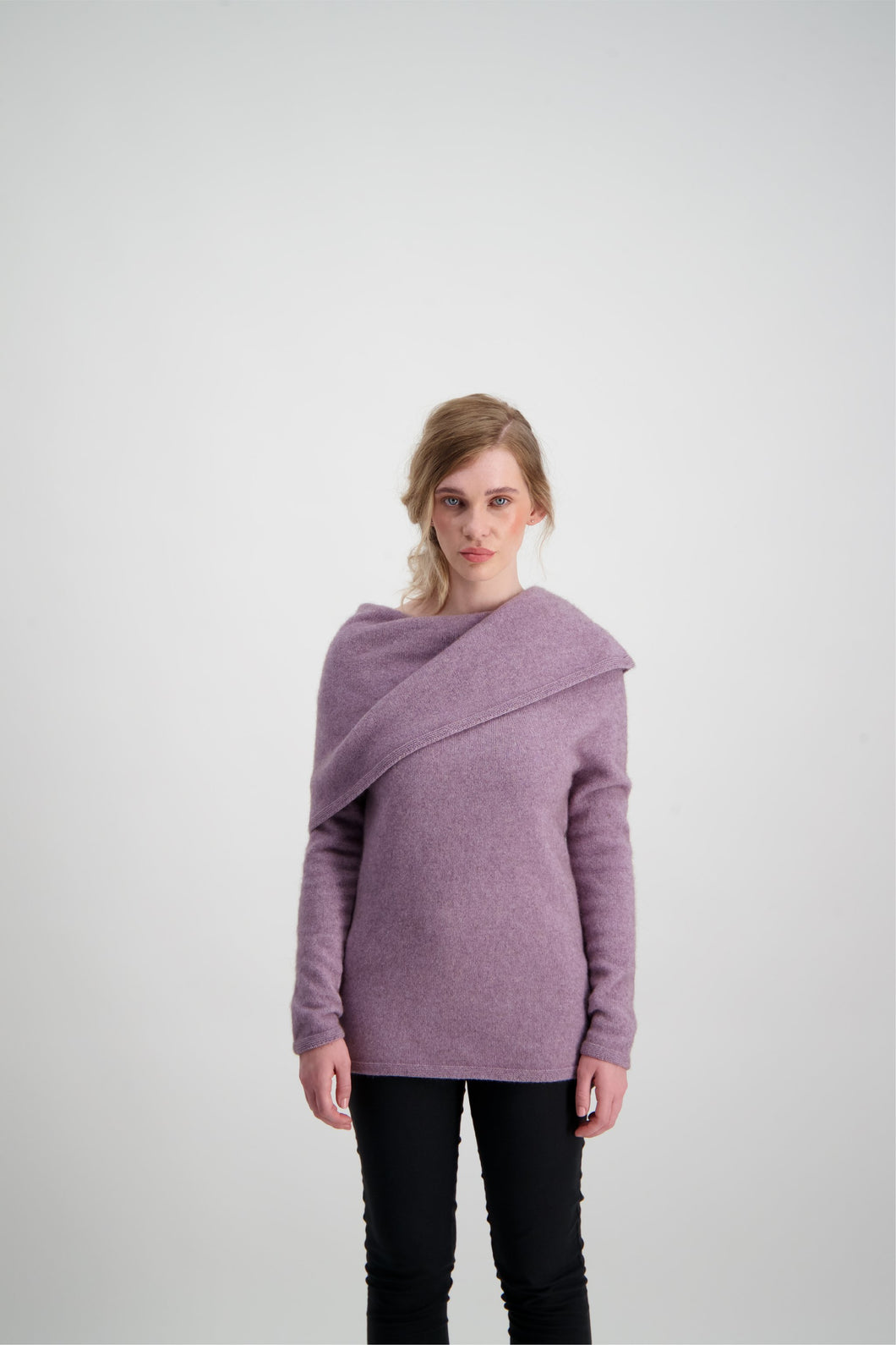 Origami Neck Possum Merino Sweater