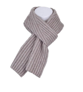 McDonald Possum Merino Diagonal Rib Scarf in Mocha