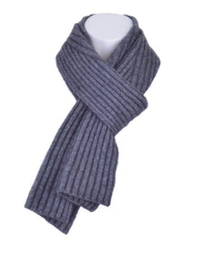 McDonald Possum Merino Diagonal Rib Scarf in Pewter