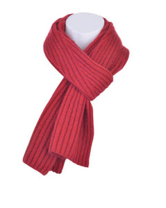 McDonald Possum Merino Diagonal Rib Scarf in Red